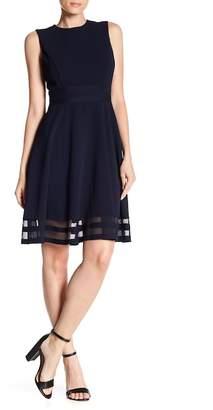 Modern American Designer Illusion Bottom Fit & Flare Dress