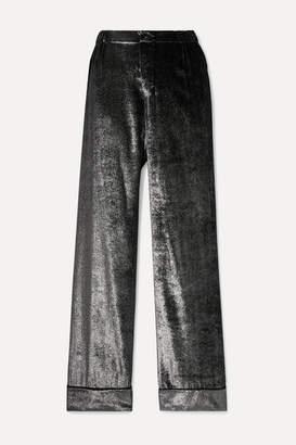F.R.S For Restless Sleepers Etere Metallic Velvet Straight-leg Pants - Silver