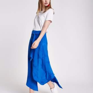 River Island Womens Blue wrap tie front jacquard midi skirt