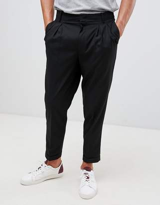 4139c59145f5 Asos Design DESIGN tapered crop smart trousers in black with pleats