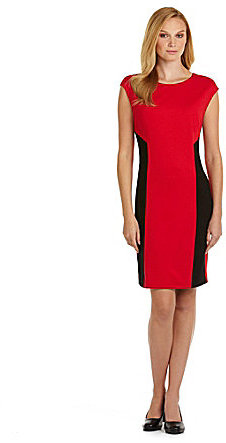 Chaus Cap-Sleeve Knit Sheath Dress