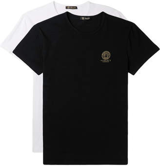 Versace Two-pack Slim-fit Stretch-cotton Jersey T-shirts - Black