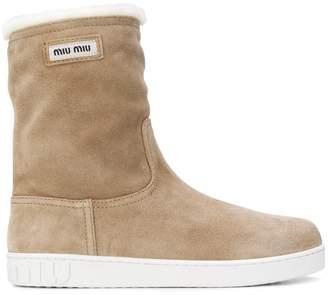 Miu Miu shearling mid-calf boots