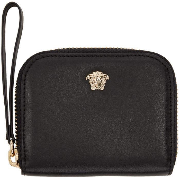 Versace Black Medusa Compact Zip Around Wallet