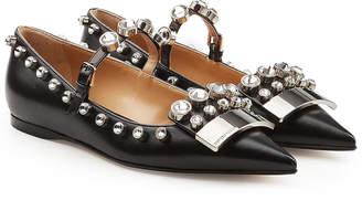 Sergio Rossi Embellished Leather Ballerinas