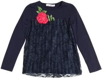 Miss Blumarine Cotton Jersey & Pleated Lace Shirt