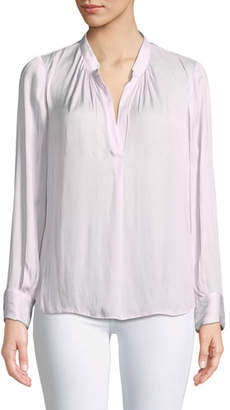 Zadig & Voltaire Tink Satin V-Neck Long-Sleeve Blouse