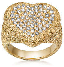 Carolina Bucci 18k Gold Florentine Pave Heart Ring, Size 6