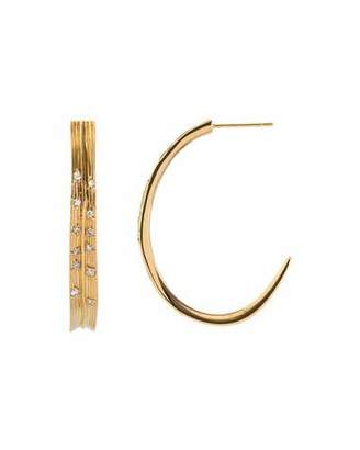 Michael Aram 18k Palm Hoop Earrings w/ Diamonds