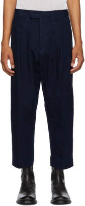 Haider Ackermann Blue Cropped Casual Trousers