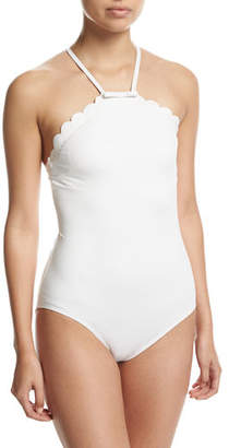 Kate Spade New York Scalloped High-Neck One-Piece Swimsuit $127 thestylecure.com