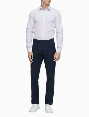 Calvin Klein Slim Fit Blue Multi Stripe Performance Non-Iron Dress Shirt