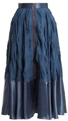 Roksanda Lamina Zip Through Silk Blend Midi Skirt - Womens - Blue