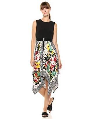 Gabby Skye Women's Sleeveless Round Neck Printed ITY Hanky Dress