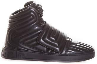Versace Quilted Greek Key High-top Sneakers