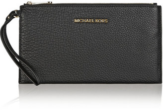 MICHAEL Michael Kors - Essentials Textured-leather Pouch - Black $98 thestylecure.com