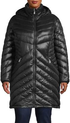 Calvin Klein Plus Hooded Quilted Packable Down Jacket