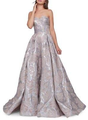 Mac Duggal Strapless Bustier Evening Gown