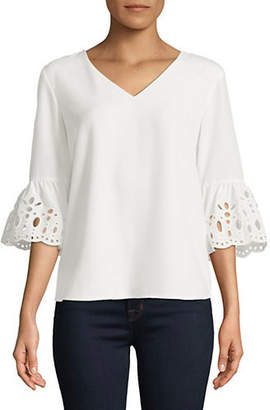 Calvin Klein Scalloped Bell-Sleeve Blouse