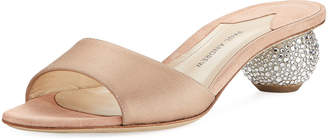 Paul Andrew Arco Satin Crystal-Heel Slide Sandals, Blush