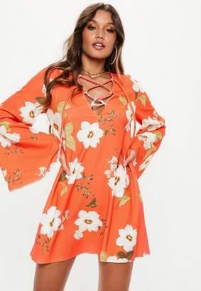 Missguided Orange Smock Lace Up Flared Sleeve Mini Dress