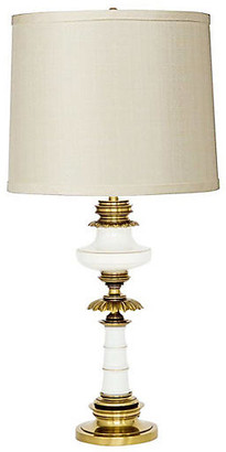 One Kings Lane Vintage Brass & White Enameled Table Lamp - Janney's Collection