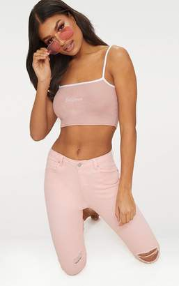PrettyLittleThing White California Rib Slogan Crop Top