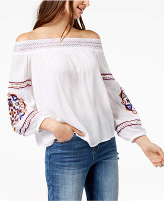 INC International Concepts I.n.c. Petite Embroidered Off-The-Shoulder Top, Created for Macy's