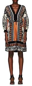 Alberta Ferretti Women's Geometric-Print Silk V-Neck Dress - Blk, Org, Wht