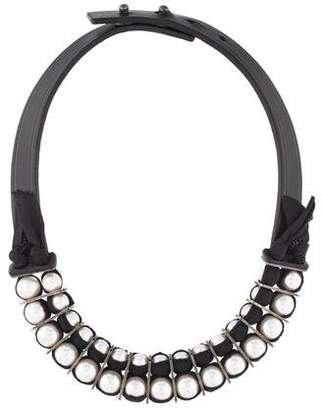 Lanvin Faux Pearl & Leather Collar Necklace