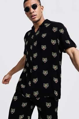 boohoo Tiger Print Short Sleeve Revere Viscose Shirt