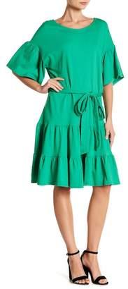 Bobeau Drop Waist Ruffle Dress