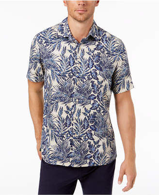 Tasso Elba Men's Silk Blend Leaf-Print Shirt, Created for Macy's