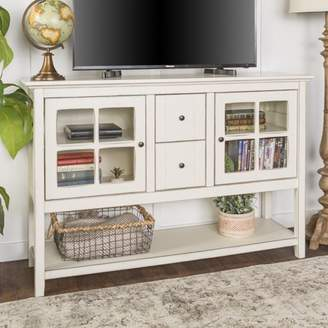 at walmartcom manor park 52 transitional wood glass console table highboy buffet tv stand antique white - Antique Tv Stands