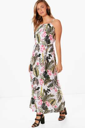boohoo Elsie Palm Print High Neck Maxi Dress