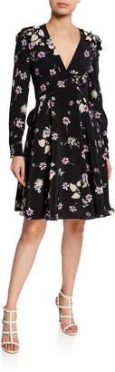 Valentino Floral A-Line Applique Tie-Waist Dress
