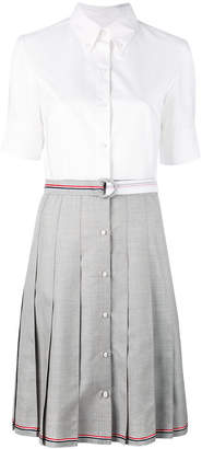 Thom Browne Short Sleeve High-Waisted Pleated Bottom Shirt Dress With Belt In Grey Super 100's Wool Twill
