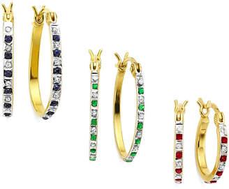 FINE JEWELRY 3-pr. Lead Glass-Filled Ruby, Genuine Emerald, Sapphire, Diamond Accent Earrings