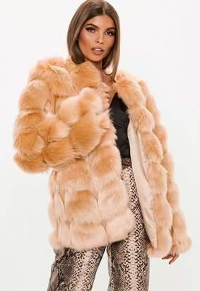 Missguided Sand Bubble Faux Fur Coat