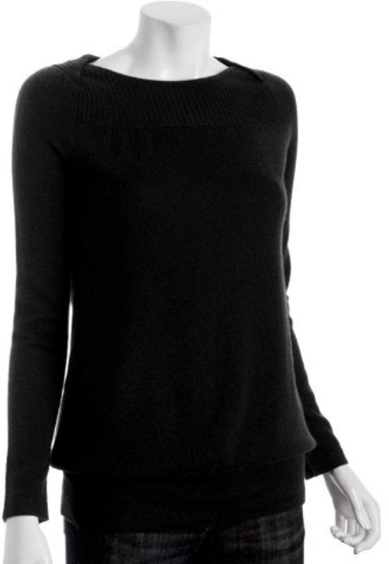 Design History black cashmere envelope banded sweater