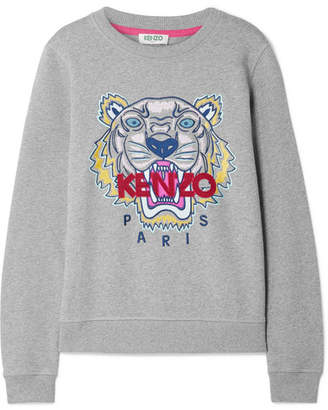 Kenzo Embroidered Cotton-jersey Sweatshirt - Gray