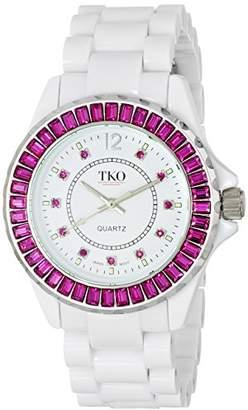 TKO ORLOGI Women's TK608-WFS Ceramix-Ice White Acrylic Pink Crystals Watch