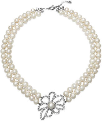 JCPenney FINE JEWELRY Cultured Freshwater Pearl and Crystal Two-Row Floral Necklace