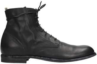 Officine Creative Black Leather Combat Boots
