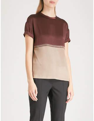 Brunello Cucinelli Bead-trim silk-blend T-shirt
