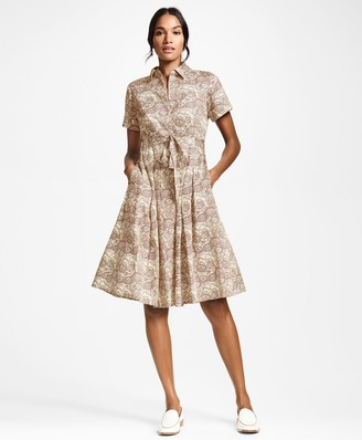 Brooks Brothers Floral-Print Cotton Sateen Shirt Dress
