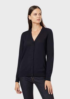 Emporio Armani Plain Knit Pure Virgin Wool Cardigan