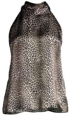 Generation Love Women's Kaylee Leopard Silk Halter Blouse - Leopard - Size Large