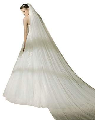 BEAUTELICATE Bridal Wedding Veil 2T Trailing Long Cut Edge with mental Comb White
