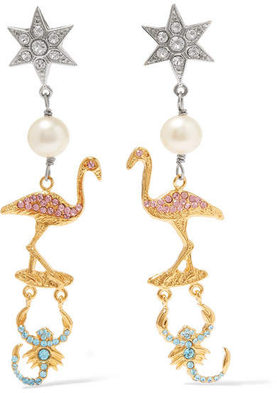 Miu Miu Miu Miu - Gold And Silver-plated, Faux Pearl And Crystal Clip Earrings - one size